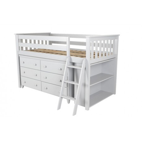 WINDSOR WHITE / TWIN LOW LOFT BED WITH DRESSER & BOOKCASE