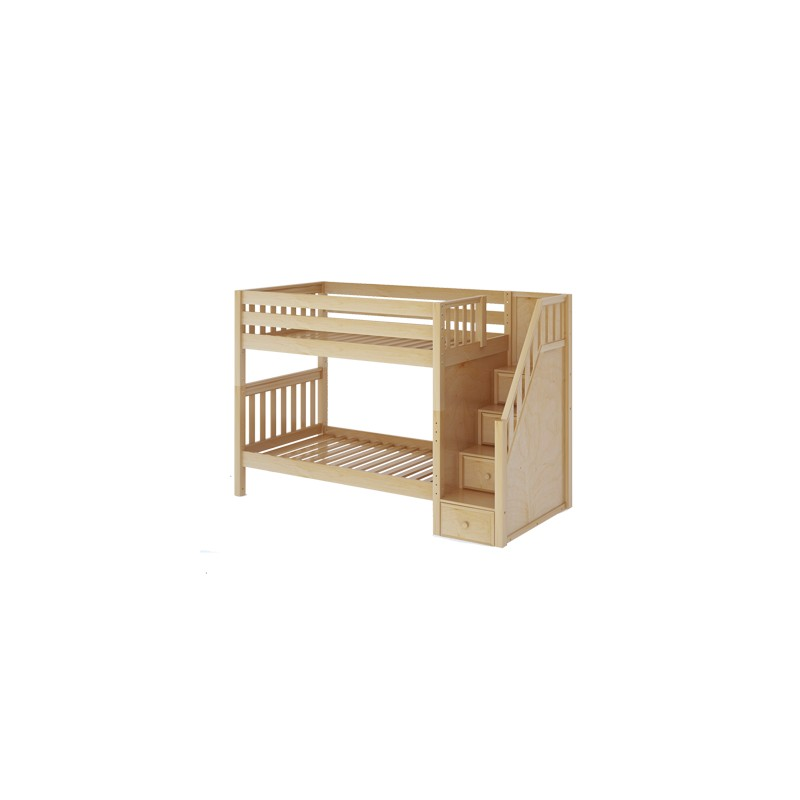 Stellar Maxtrix Twin Over Twin Bunk Bed With Stairs Solid Wood