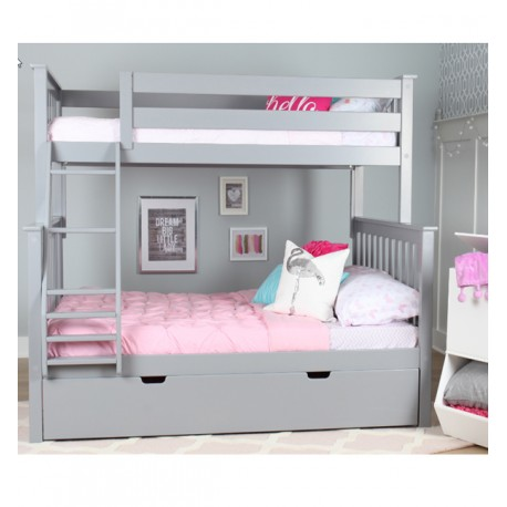 SOLID WOOD TWIN OVER FULL BUNK BED IN GREY WITH TRUNDLE BED