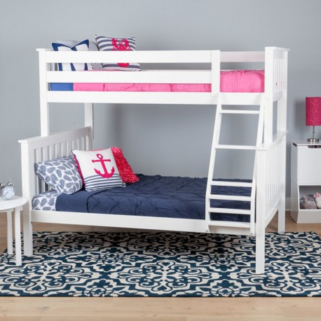 SOLID WOOD TWIN OVER FULL BUNK BED IN WHITE FINISH
