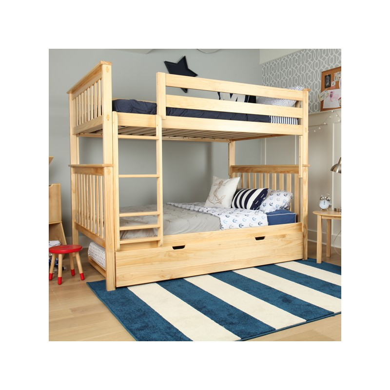 SOLID WOOD FULL OVER BUNK BED IN NATURAL WITH TRUNDLE