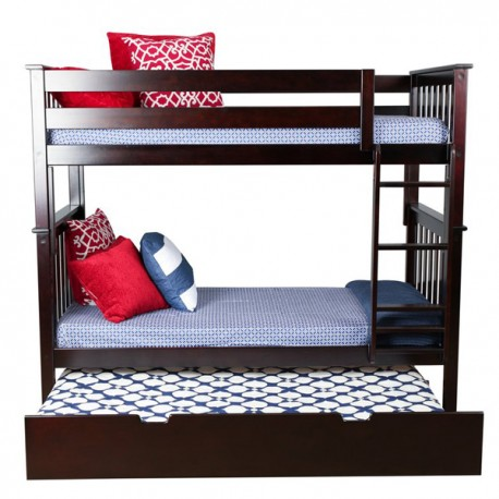 SOLID WOOD FULL OVER FULL BUNK BED IN ESPRESSO WITH TRUNDLE BED