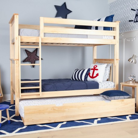 SOLID WOOD TWIN OVER TWIN BUNK BED IN NATURAL WITH TRUNDLE BED