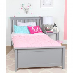 SOLID WOOD TWIN SIZE  PLATFORM BED IN GREY FINISH WITH TRUNDLE BED
