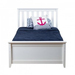 SOLID WOOD TWIN SIZE PLATFORM BED IN WHITE FINISH