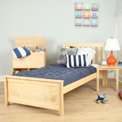 SOLID WOOD TWIN SIZE PLATFORM BED IN NATURAL FINISH