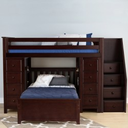 CHESTER 2 ESPRESSO  / TWIN LOFT BUNK BED WITH STAIRS & STORAGE