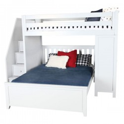 BRIGHTON 1 WHITE / TWIN LOFT BED OVER FULL BED WITH STAIRS& DESK