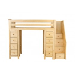 CHESTER NATURAL / TWIN LOFT BED WITH STAIRS & STORAGE