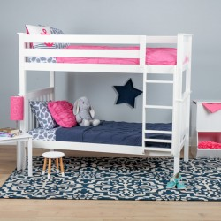 SOLID WOOD TWIN OVER TWIN BUNK BED IN WHITE FINISH