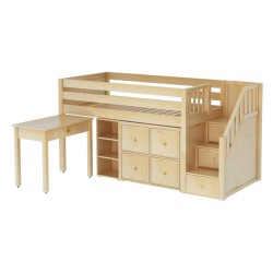 GREAT4 / LOW LOFT BED WITH STAIRS - STORAGE & DESK  / TWIN