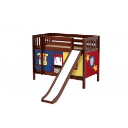 SMILE29 / TWIN OVER TWIN BUNK BED W/ LADDER - SLIDE & TENT