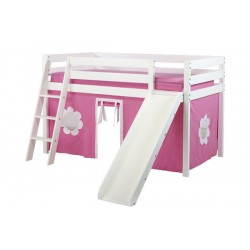 SHUFFLE78 PLAYHOUSE / TWIN LOFT BED WITH SLIDE IN WHITE