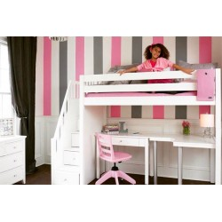 STAR14 / HIGH LOFT BED WITH STAIRCASE _ CORNER DESK STUDENT DESK / TWIN