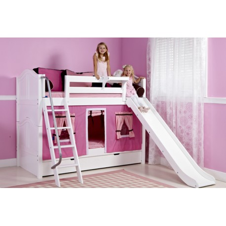 LAUGH / LOW HEIGHT MAXTRIX TWIN OVER TWIN BUNK BED WITH SLIDE