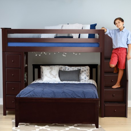 OXFORD 1 ESPRESSO / TWIN LOFT BUNK BED WITH STAIRS & STORAGE