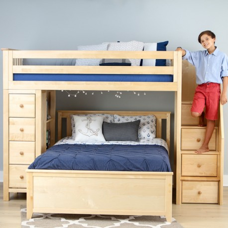 OXFORD 1 NATURAL / TWIN LOFT BUNK BED WITH STAIRS & STORAGE