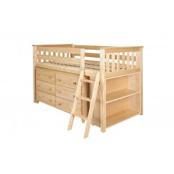 WINDSOR NATURAL / TWIN LOW LOFT BED WITH DRESSER & BOOKCASE
