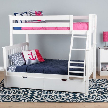 SOLID WOOD TWIN OVER FULL BUNK BED IN WHITE WITH STORAGE