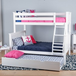 SOLID WOOD TWIN OVER FULL BUNK BED IN WHITE WITH TRUNDLE BED