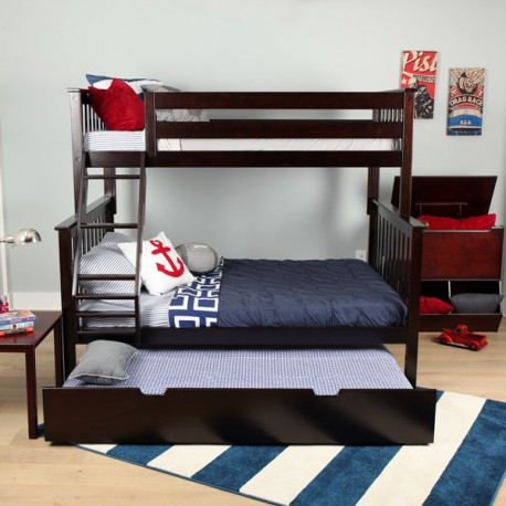 SOLID WOOD TWIN OVER FULL BUNK BED IN ESPRESSO WITH TRUNDLE BED