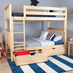 SOLID WOOD FULL OVER FULL BUNK BED IN NATURAL WITH STORAGE