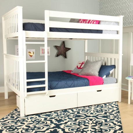 SOLID WOOD FULL OVER FULL BUNK BED IN WHITE WITH STORAGE