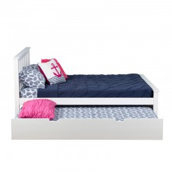 SOLID WOOD FULL SIZE PLATFORM BED IN WHITE FINISH WITH TRUNDLE BED