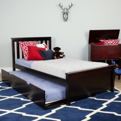 SOLID WOOD TWIN SIZE  PLATFORM BED IN ESPRESSO FINISH WITH TRUNDLE BED