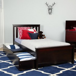 SOLID WOOD TWIN SIZE  PLATFORM BED IN ESPRESSO FINISH WITH STORAGE