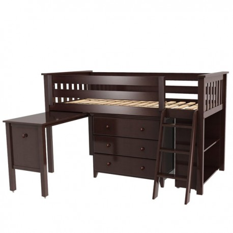 WINDSOR 2 ESPRESSO / TWIN LOW LOFT BED WITH DRESSER, DESK & BOOKCASE