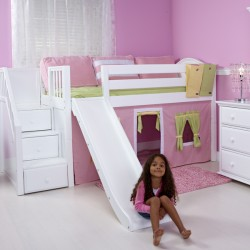 DELICIOUS WC / MAXTRIX TWIN LOW LOFT BED WITH STAIRS & SLIDE