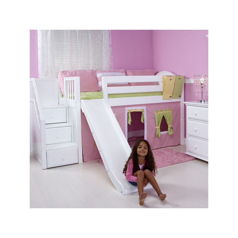 Delicious Wc Maxtrix Twin Low Loft Bed With Stairs Slide