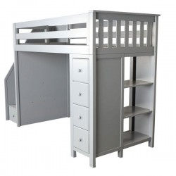 OXFORD GREY / TWIN LOFT BED WITH STAIRS & STORAGE