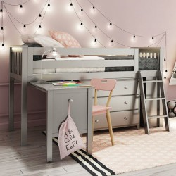 WINDSOR 2 GREY / TWIN LOW LOFT BED WITH DRESSER, DESK & BOOKCASE