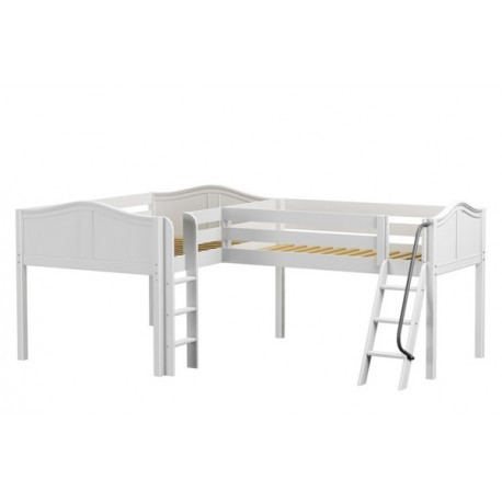 DUET / LOW CORNER LOFT BED / TWIN+DOUBLE WITH LADDERS