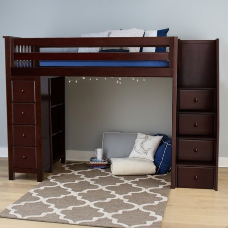 Oxford Espresso Twin Loft Bed With Stairs Storage