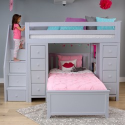 CHESTER 2 GREY  / TWIN LOFT BUNK BED WITH STAIRS & STORAGE