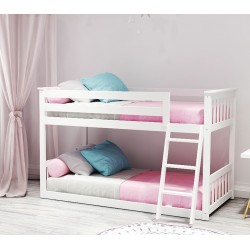 MAX AND LILY SOLID WOOD TWIN OVER TWIN LOW BUNK BED IN WHITE FINISH