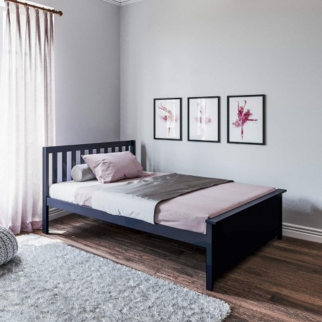 SOLID WOOD FULL SIZE PLATFORM BED IN BLUE FINISH