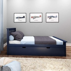 SOLID WOOD FULL SIZE PLATFORM BED IN BLUE FINISH WITH TRUNDLE BED