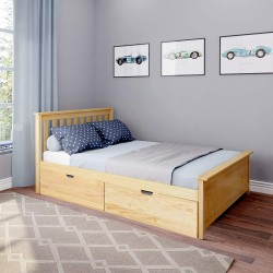 SOLID WOOD FULL SIZE PLATFORM BED IN NATURAL FINISH WITH STORAGE