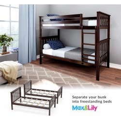 SOLID WOOD TWIN OVER TWIN BUNK BED IN ESPRESSO FINISH