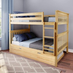 SOLID WOOD FULL OVER FULL BUNK BED IN NATURAL WITH TRUNDLE BED