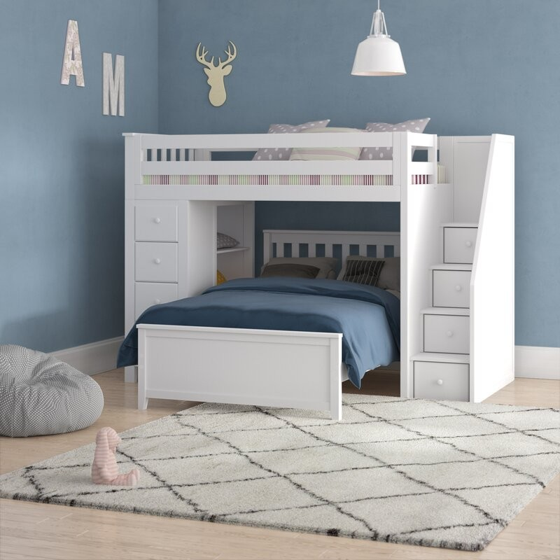 Oxford 1 White Loft Bunk Bed Stairs Storage Solid Wood