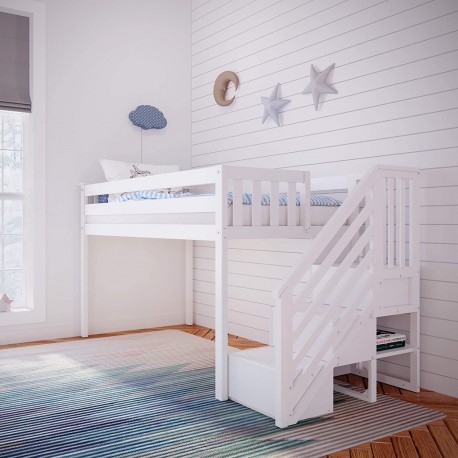 MAX & LILY SOLID WOOD LOW LOFT BED WITH STAIRCASE IN WHITE FINISH