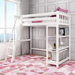 MAX & LILY SOLID WOOD TWIN SIZE HIGH LOFT BED WITH BOOKCASE IN WHITE FINISH
