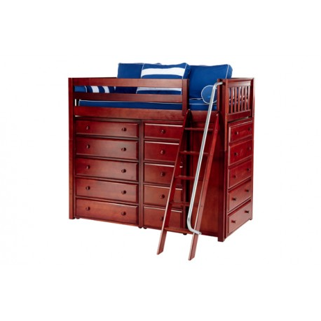 EMPEROR / HIGH LOFT BED WITH STORAGE / TWIN