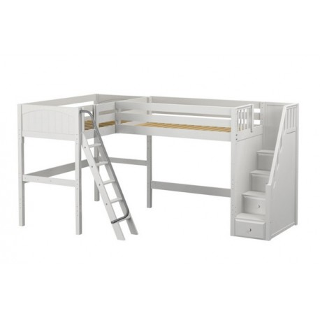 PENTHOUSE / TWIN SIZE HIGH CORNER LOFT BED  WITH LADDER & STAIRS