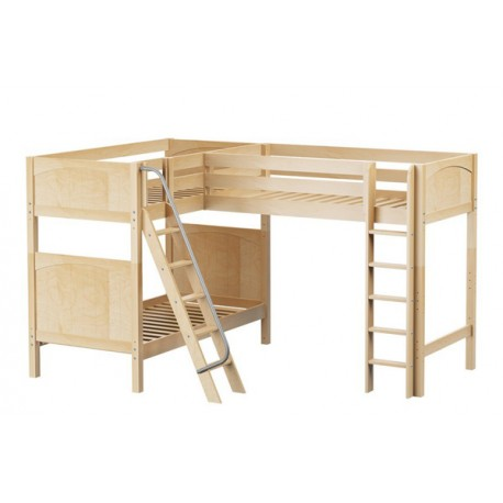 TRIO/ HIGH CORNER LOFT BUNK WITH LADDERS / 3 TWIN BEDS